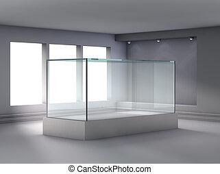 exposer, niche, projecteurs, vitrine, verre, galerie, 3d