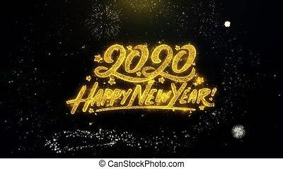 exposer, or, heureux, année, nouveau, écrit, particules, 2020, feux artifice, exploser