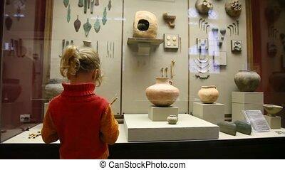 exposer, peu, musée, girl, copie, dessin, histoire