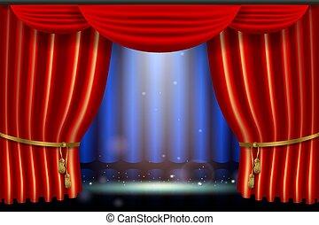 exposition, effet, réaliste, clair, éclairage, curtai, projecteur, rouges