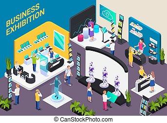 exposition, isométrique, composition, business