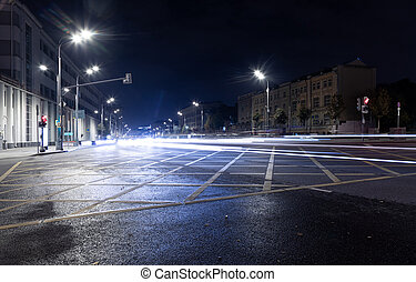 exposition, long, lumières, trafic, intersection