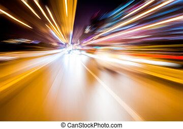 exposition, long, photo, lumières, brouillé, trafic