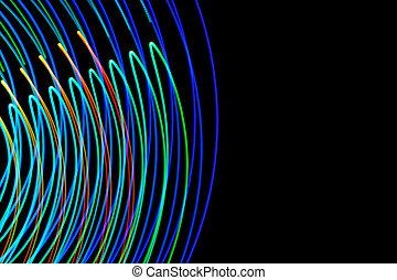 exposition, résumé, lumière colorée, long, background-11, noir, painting., futuriste