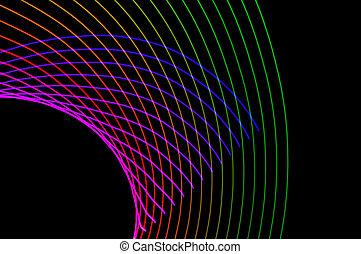 exposition, résumé, lumière colorée, long, background-24, noir, painting., futuriste