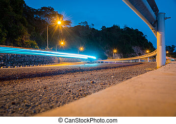 exposure., soir, trafic, long