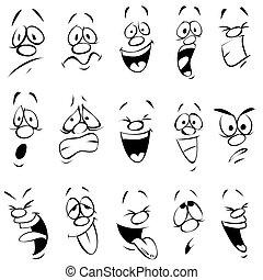 expression, dessin animé, facial