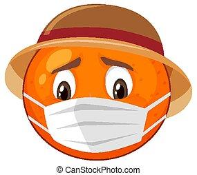 expression, dessin animé, facial, orange, caractère