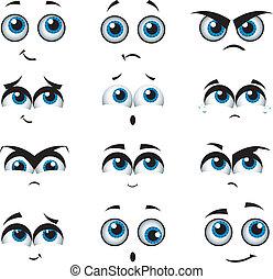 expressions, divers, dessin animé, faces