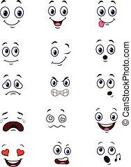 expressions, ensemble, dessin animé, collection, faces