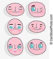 expressions, ensemble, facial, faces, dessin animé, kawaii
