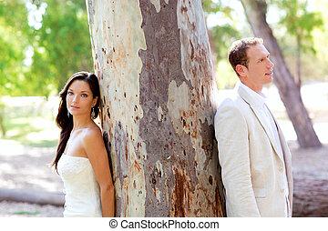 extérieur, amour, arbre, couple, parc, heureux