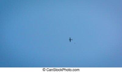 extérieur, avion, sauts, voler, skydiver, professionnel, activity., dehors