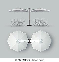 extérieur, barre, restaurant, double, parasol, café, patio