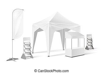 extérieur, chapiteau, haut, pop, vecteur, exposition, railler, tente