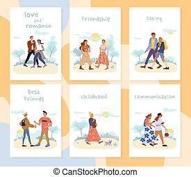 extérieur, ensemble, gens, activités, cartes, récréation