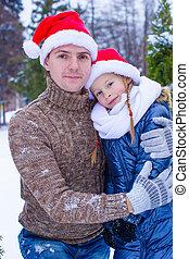 extérieur, famille, chapeaux, arbre, santa, noël, heureux