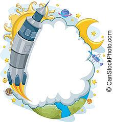 extérieur, fusée, armature espace, lancement, fond, nuage