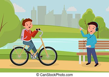 extérieur, gens colorent, passe-temps, activité, ville, récréatif, characters., musique, équitation, réunion, adolescent, urbain, parc, loisir, écoute, amis, dessin animé, garçon, illustration., écouteurs, vélo