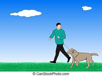 extérieur, illustration, vecteur, chien marche, homme, herbe