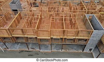 extérieur maison, crosse, construit, construction, faisceau, résidentiel, bois, encadrement