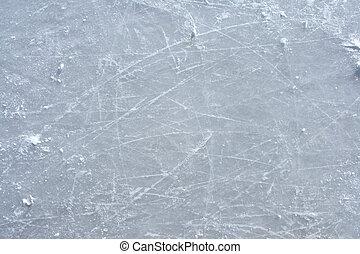 extérieur, patin glace, surface, patinoire, marques