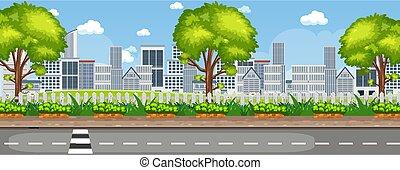extérieur, paysage urbain, vue