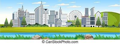 extérieur, paysage, vue, urbain, parc