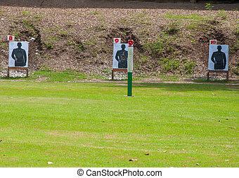extérieur, pelouse, fusillade objectif
