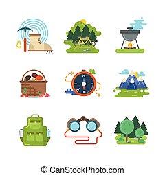 extérieur, plat, vecteur, camping, icônes