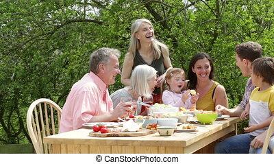 extérieur, repas, famille
