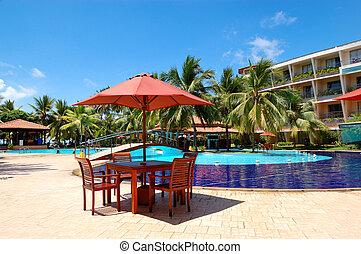 extérieur, sri, table, restaurant, natation, bentota, chaises, piscine, hôtel, luxe, lanka