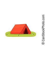 extérieur, touriste, camping, isolé, illustration, arrière-plan., vecteur, blanc, tente