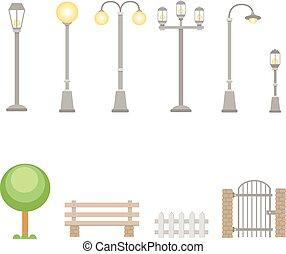 extérieur, vecteur, construction, rue, éléments, ensemble, lumières, guichet, lampes, barrière, village, banc, landscapes., urbain