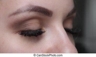 extension, ombre, oeil femme, cil, long, effect., haut, foyer., eyelashes., bleu, sélectif, fin, procedure.