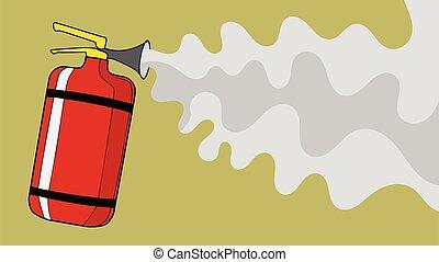 extincteur, brûler, mousse, extinguishes