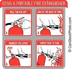 extincteur, brûler, usage