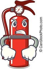 extincteur, fâché, dessin animé, mascotte