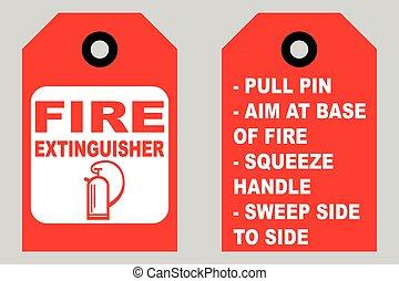 extincteur, usage, étiquettes, brûler, dos, comment, devant, informationnel, côté
