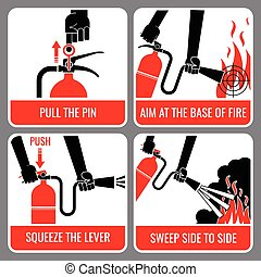 extincteur, vecteur, brûler, instruction