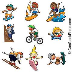 extrême, dessin animé, icône, sport