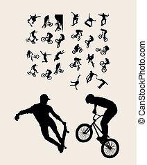 extrême, silhouettes, sport