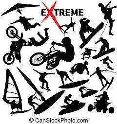 extrême, silhouettes, vecteur, sport