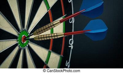 extrême, triple, bullseye, surprenant, précision, partition, concept