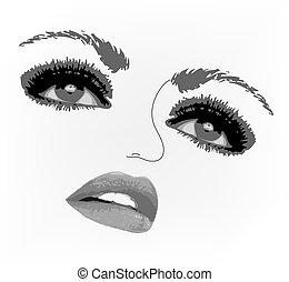 eyes., femme, vecteur, illustration, figure