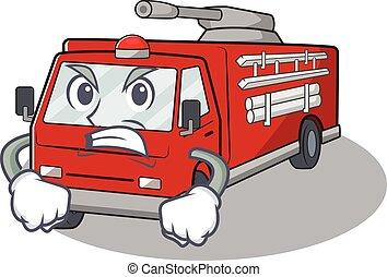 fâché, camion feu, caractère, conception, dessin animé, figure, avoir