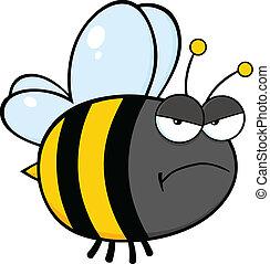 fâché, caractère, abeille