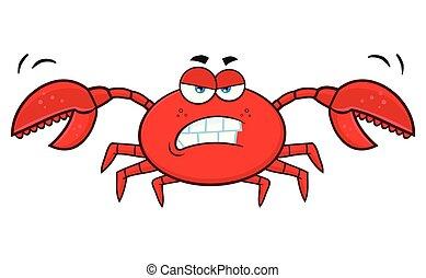 fâché, caractère, dessin animé, crabe, mascotte