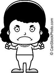 fâché, dessin animé, girl