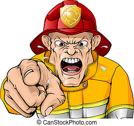 fâché, dessin animé, pompier